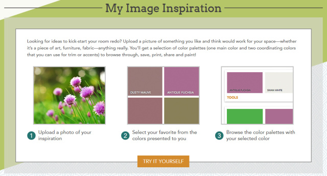 My Image Inspiration is a Glidden paint tool where a color palette will be created using hues from a picture
