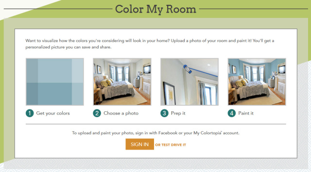 Color My Room on Glidden paint will help choose the best color for your space