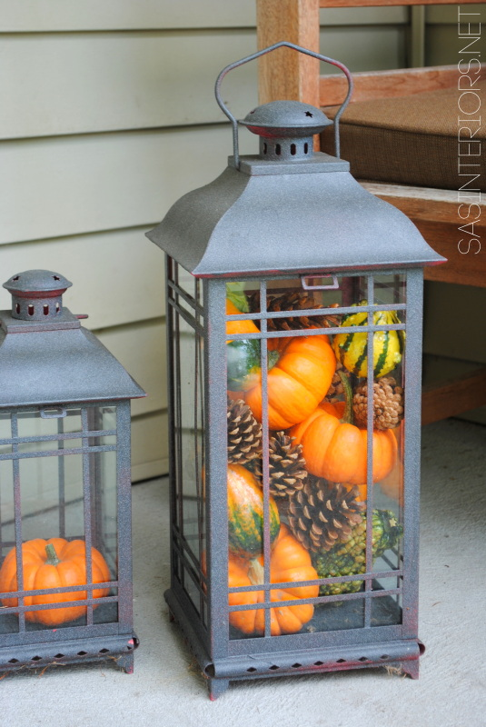 Lantern filled with pumpkins