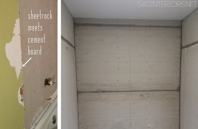 Bathroom Makeover: Installation of the new the cement board in the new shower space