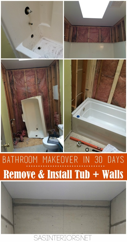Bathroom Makeover in 30 Days CHALLENGE! Day 2-4 Removing of the existing tub + tub walls & Installing the new tub & cement board in tub area. Follow along on this bathroom makeover and see if this DIY bathroom will be complete in 30 days!