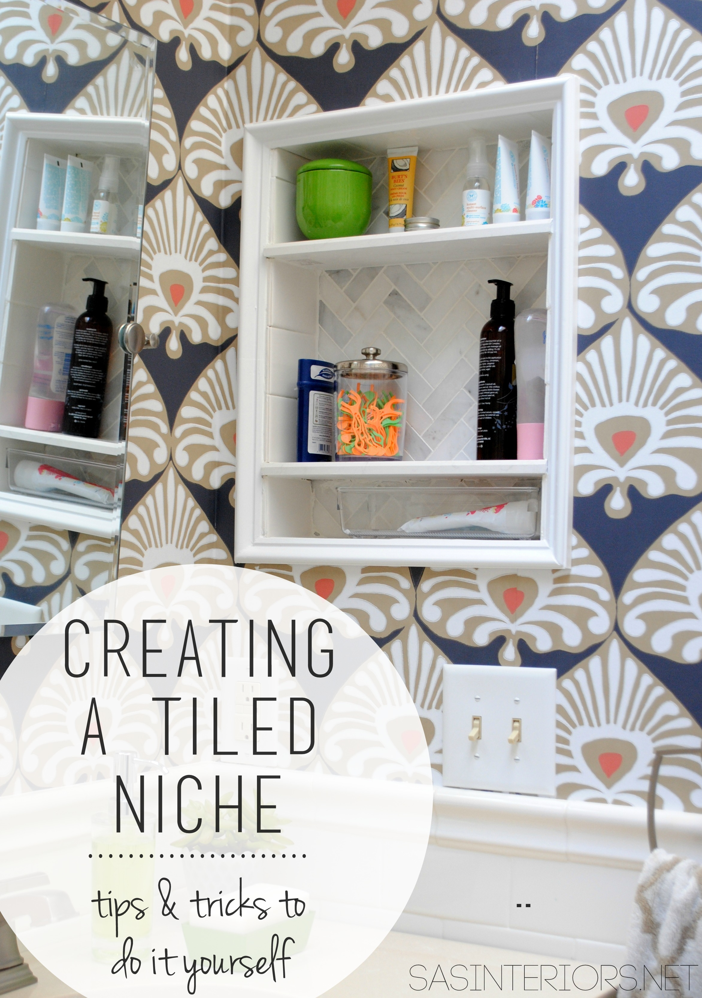 Bathroom Makeover: Tiled Niche {Day 19 + 20} - Jenna Burger