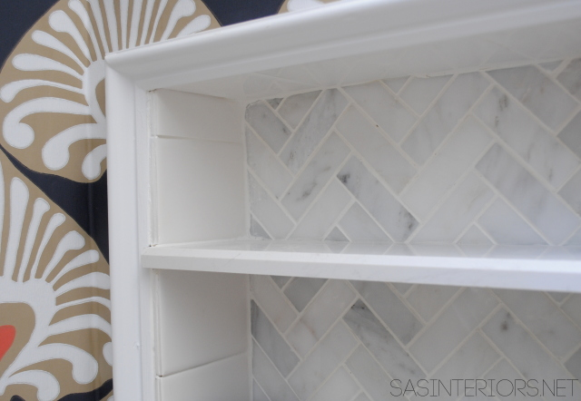 Bathroom Makeover: a tutorial on how to create a tiled niche + many more DIY projects.