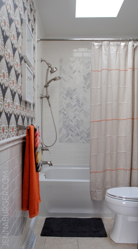 Bathroom Makover with 95% of the space being a DIY project - new tub + tile, vanity, wallpaper, and more!  Lots of details on this multi-post before & after.  Bathroom makeover by Jenna Burger Design www.jennaburger.com