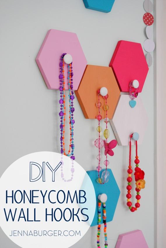 DIY Tutorial: Honeycomb shaped wall hooks [inspiration for many other fun + functional wall storage ideas] Tutorial by Jenna Burger Design www.jennaburger.com