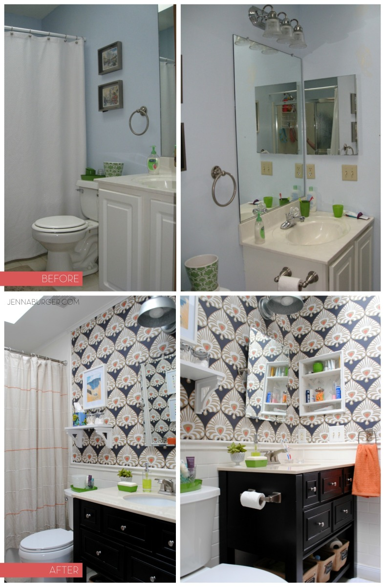 BEFORE & AFTER Bathroom Makover with 95% of the space being a DIY project - new tub + tile, vanity, wallpaper, and more!  Lots of details on this multi-post before & after.  Bathroom makeover by Jenna Burger Design www.jennaburger.com