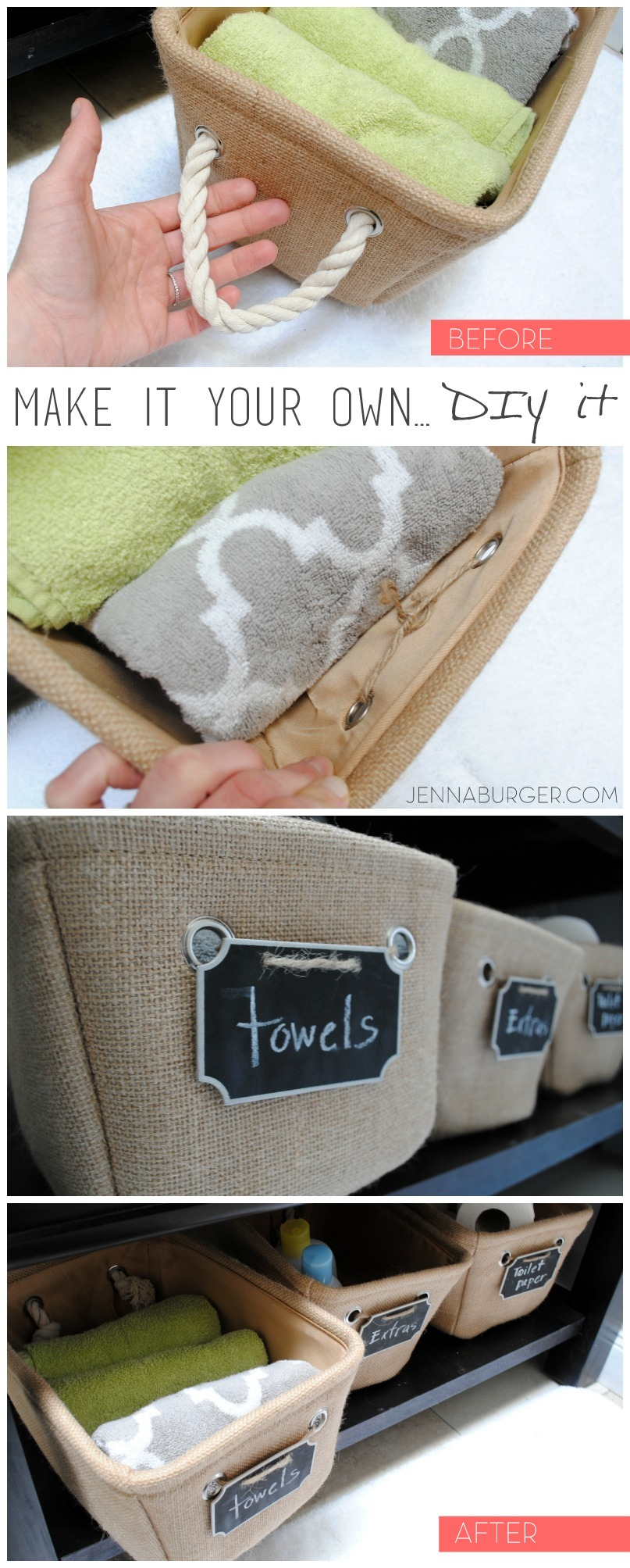 Make it your own by changing up a store-bought item.  From rope pulls to chalkboard labels, this DIY upgrade was less than a $1.