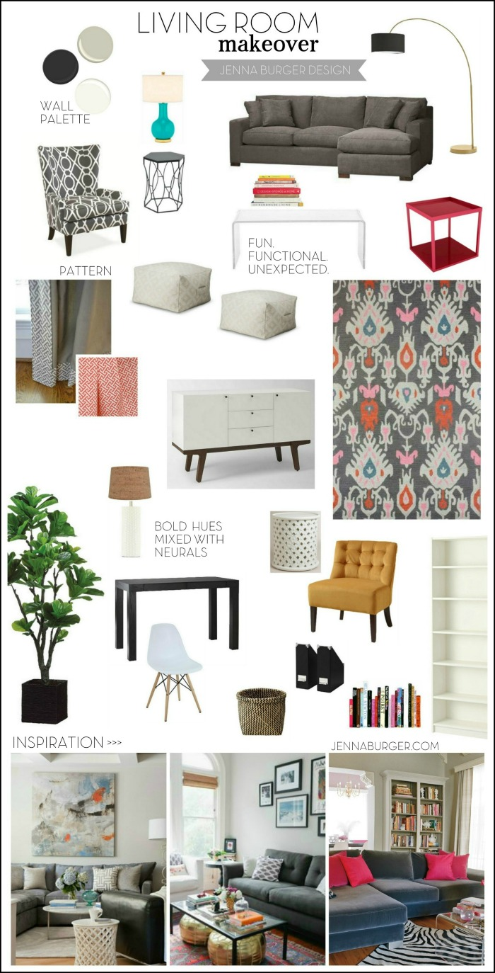 Proposed living room mood board: black + bold + budget for this new space.
