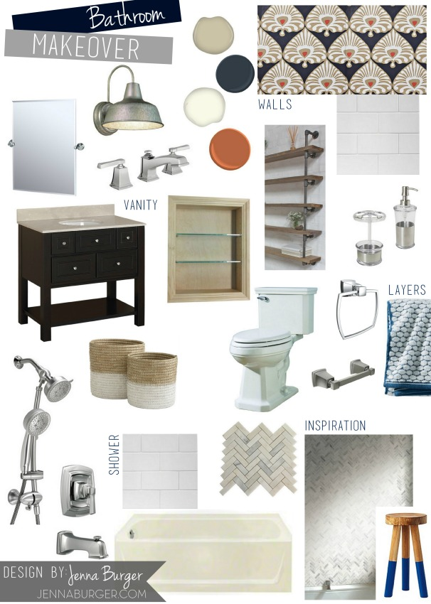 Bathroom Makeover Mood Board / Plan of Direction for space