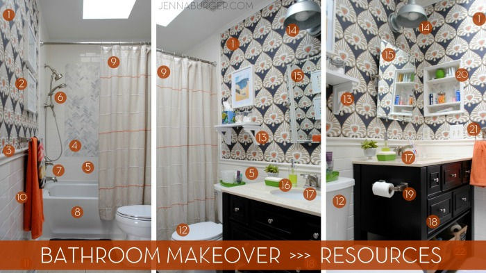 Bathroom Makeover details: the specific resources for this classic bath with bold layers.  Designed by Jenna Burger Design, www.jennaburger.com