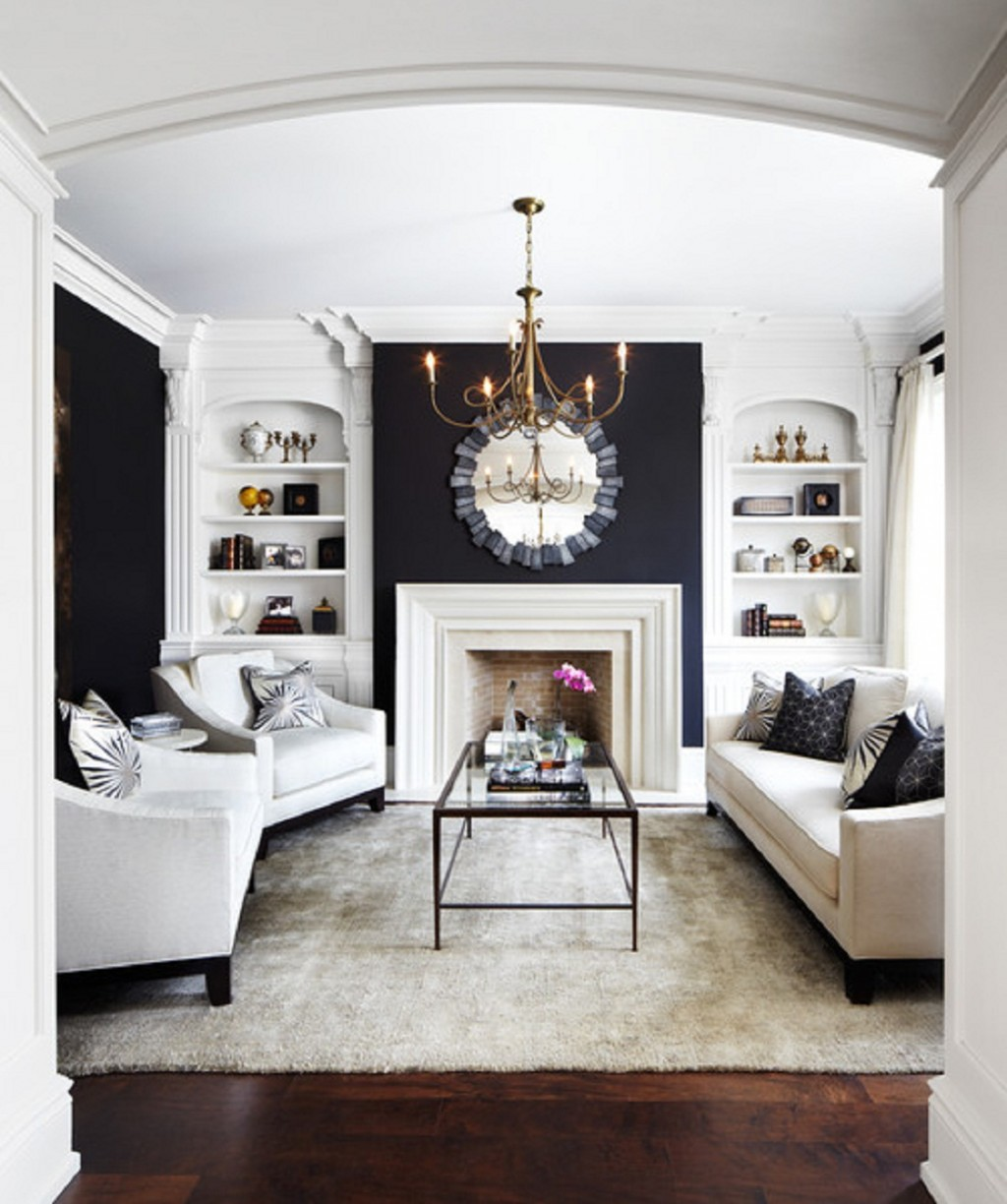 Living Room With Bold Hues Of Black With Contrasting Shades Of White