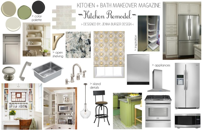 The mood board for the proposed kitchen featured on the Spring 2015 cover of Kitchen + Bath Makeovers magazine
