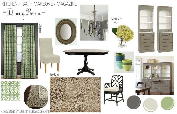 The mood board for the proposed kitchen & dining room featured on the Spring 2015 cover of Kitchen + Bath Makeovers magazine