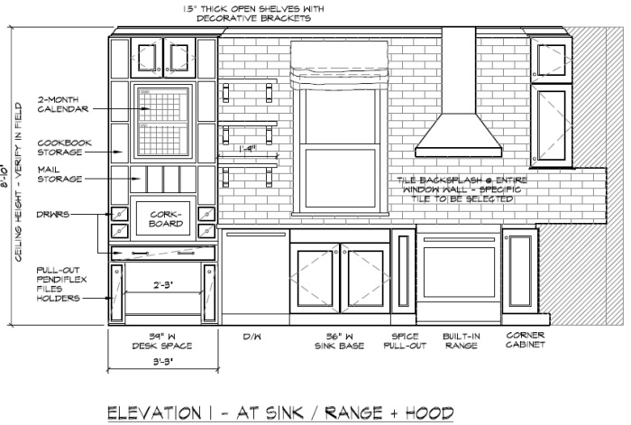 Architectural drawings for the kitchen featured on the Spring 2015 cover of Kitchen + Bath Makeovers magazine
