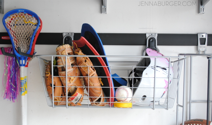 Getting organized in the GARAGE using Rubbermaid Fast Track Garage Organizational system - wire basket