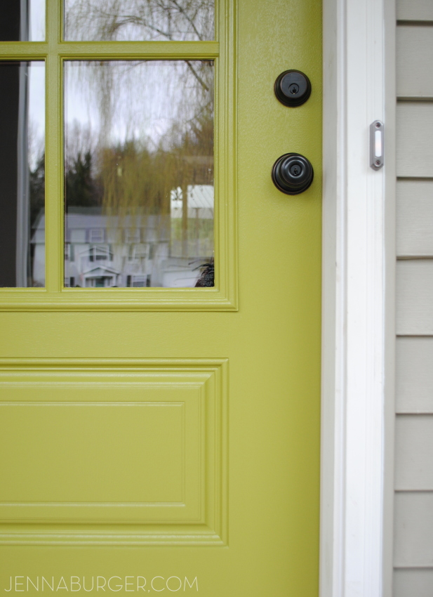 New paint color on the front door: Valspar Crushed Oregano
