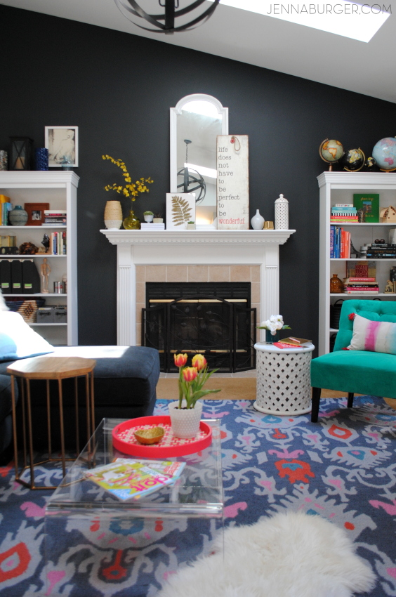Living Room Makeover with bold black + pops of color [emerald, raspberry, coral, and light blue] Design by Jenna Burger Design, www.jennaburger.com