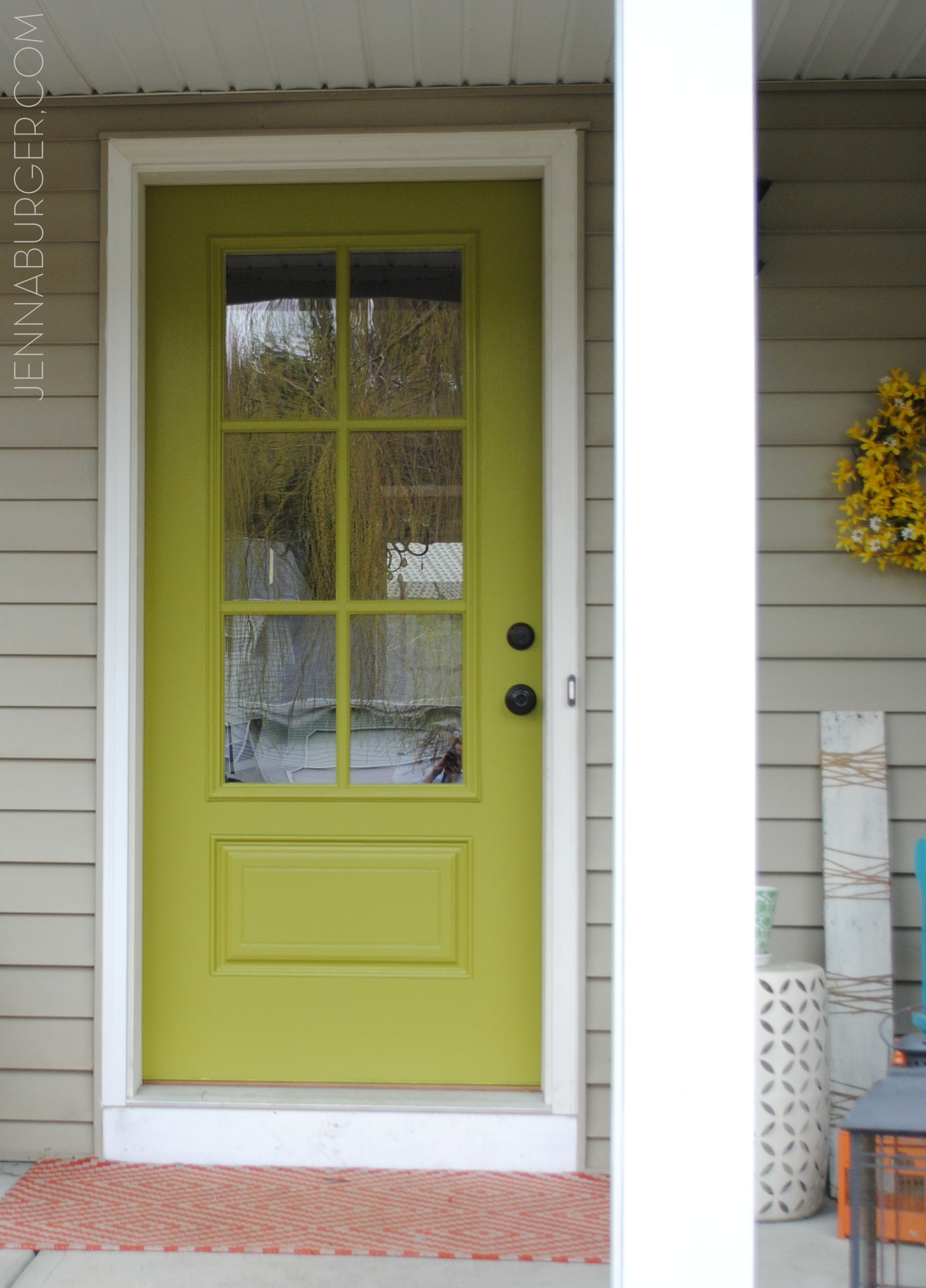 Front door new style new color jenna burger for Exterior door paint