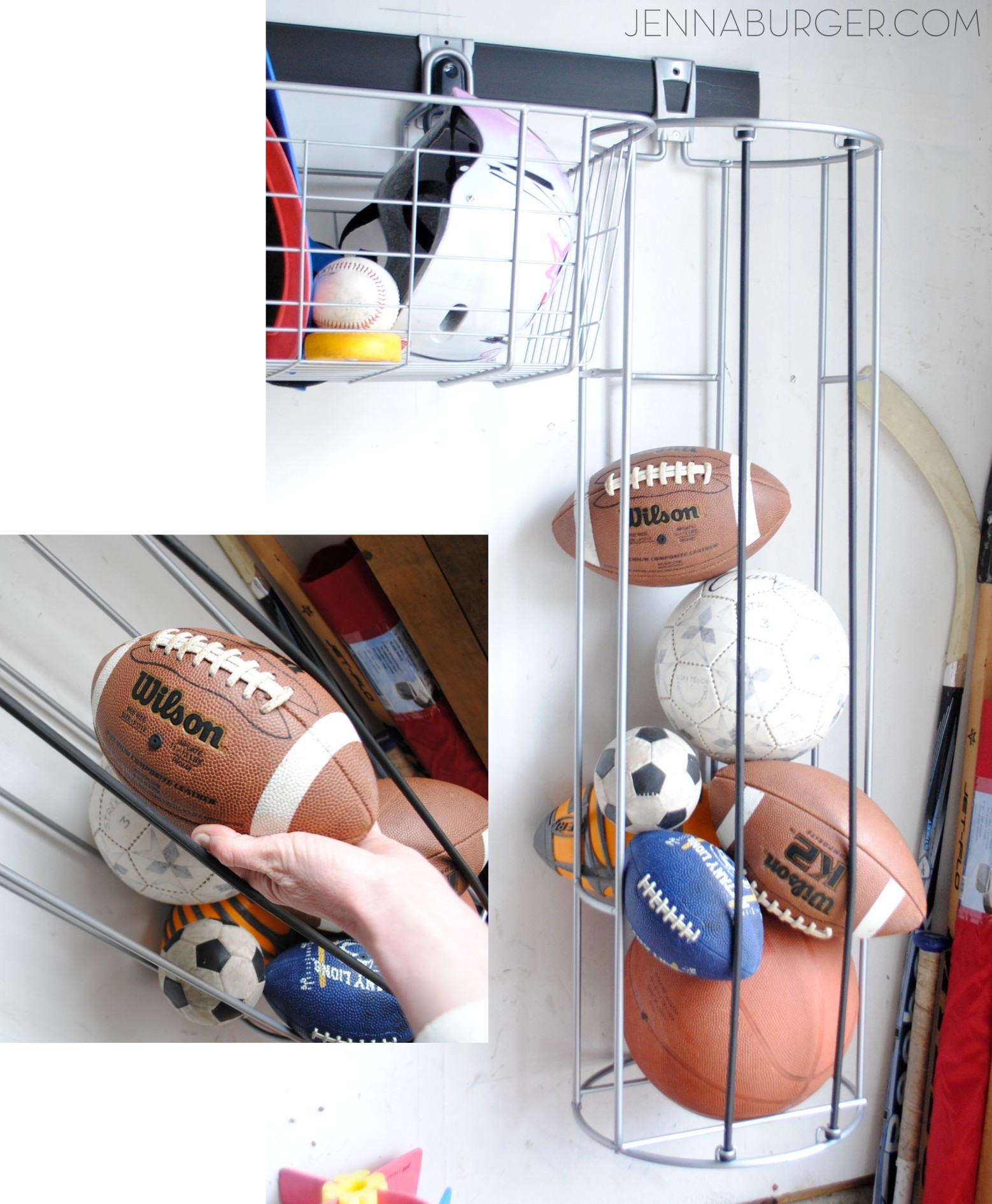 Getting Organized In The Garage Using Rubbermaid Fast Track Organizational System Vertical Ball Rack