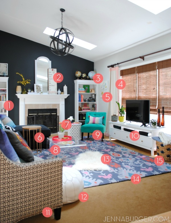 [RESOURCES] for the Living Room Makeover with bold black + pops of color [emerald, raspberry, coral, and light blue] Design by Jenna Burger Design, www.jennaburger.com