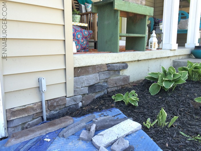 #DIY Tutorial for Adding a Stone Veneer to a Concrete Foundation Wall: Give a bare, untreated foundation wall a finished look with an affordable stone facing!  Easy-to-Follow tutorial @ www.jennaburger.com