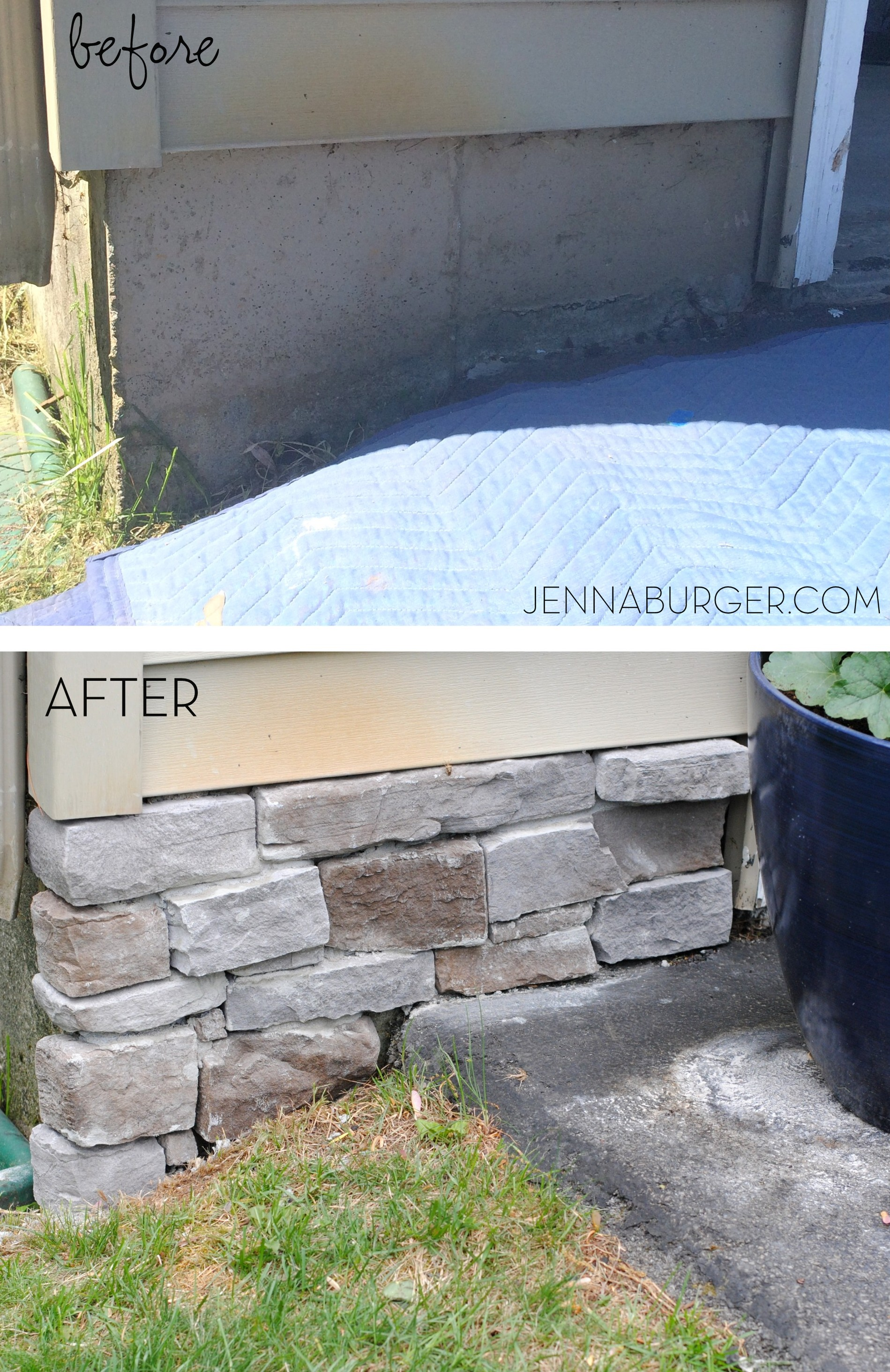 Adding stone veneer to a concrete foundation wall jenna burger diy tutorial for adding a stone veneer to a concrete foundation wall give a solutioingenieria Image collections