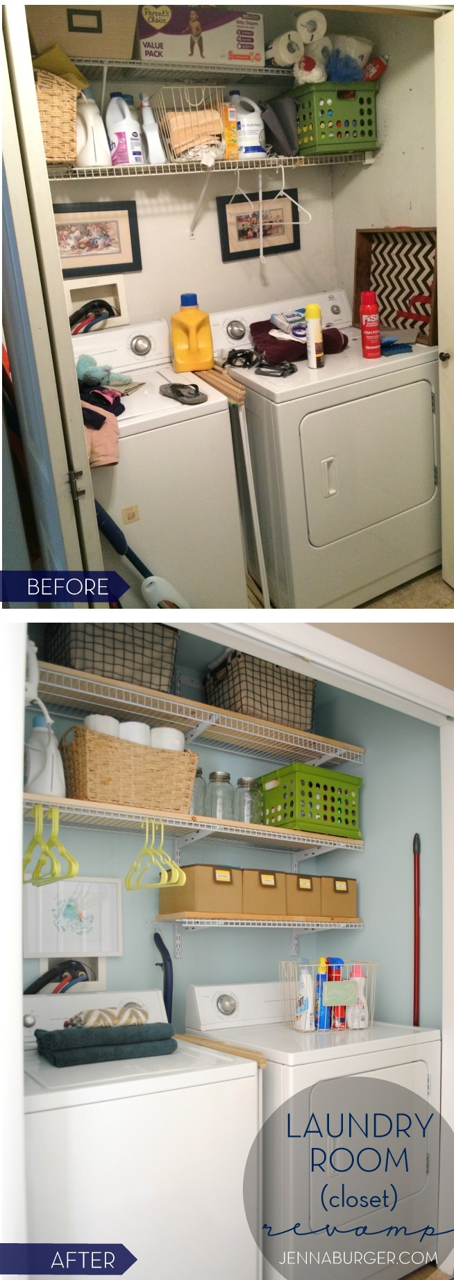 "LAUNDRY ROOM (closet) REVAMP in one weekend!  New paint, More storage, and Pops of color!  All for about $150.  This laundry ""closet"" is now 100% functional & pretty on the eyes.  Before & After by Jenna Burger Design, www.jennaburger.com"