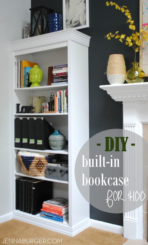 #DIY #Tutorial How-To Make a Laminate Bookcase Look Like a Custom Built-in Bookshelf.  A $1000 or more bookshelf for just about $100  - Similar Look, HUGE SAVINGS! Tutorial @ www.jennaburger.com