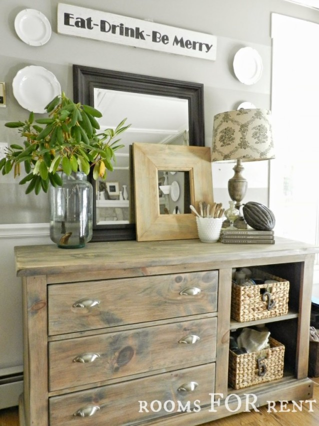 Relaxed with farmhouse flair!  The beautiful dining room buffet by Bre of Rooms for Rent
