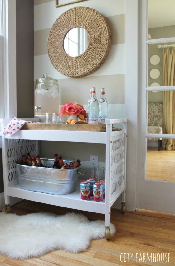 rustic TV cart upcycled into a modern white bar cart