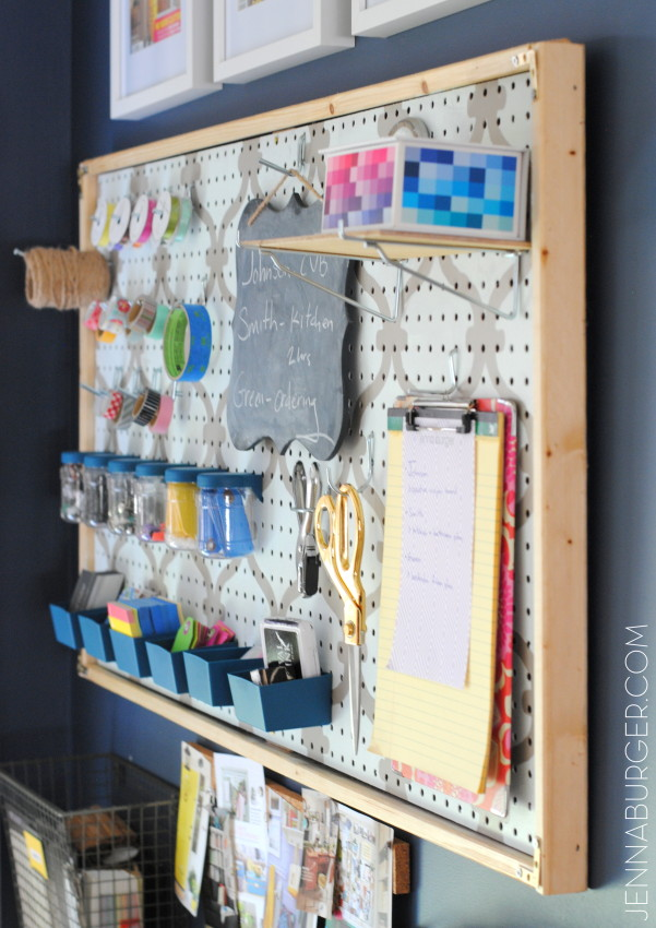 WORK SPACE REVAMP: getting organized and creating an office command center using a framed pegboard and organizational supplies. Office Revamp by Jenna Burger Design