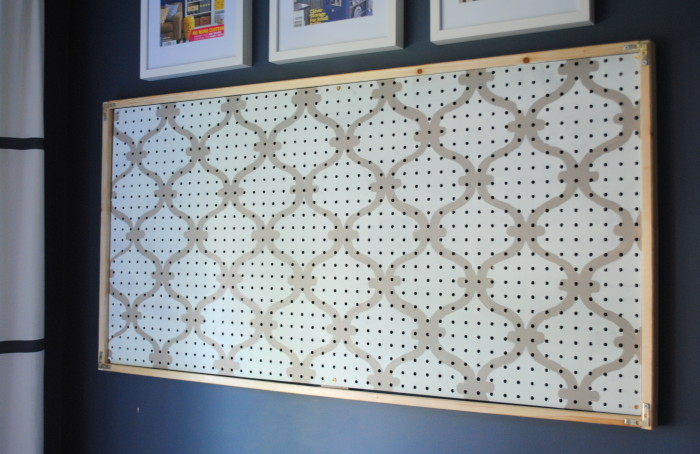 Stenciled Pegboard before