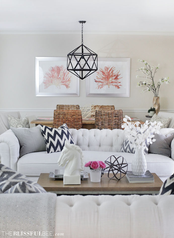 Chic + Soft living room by Amy @ The Blissful Bee