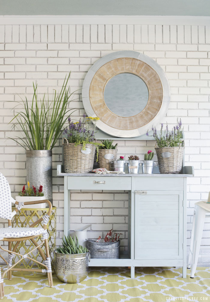 Chic + Soft back porch makeover by Amy @ The Blissful Bee