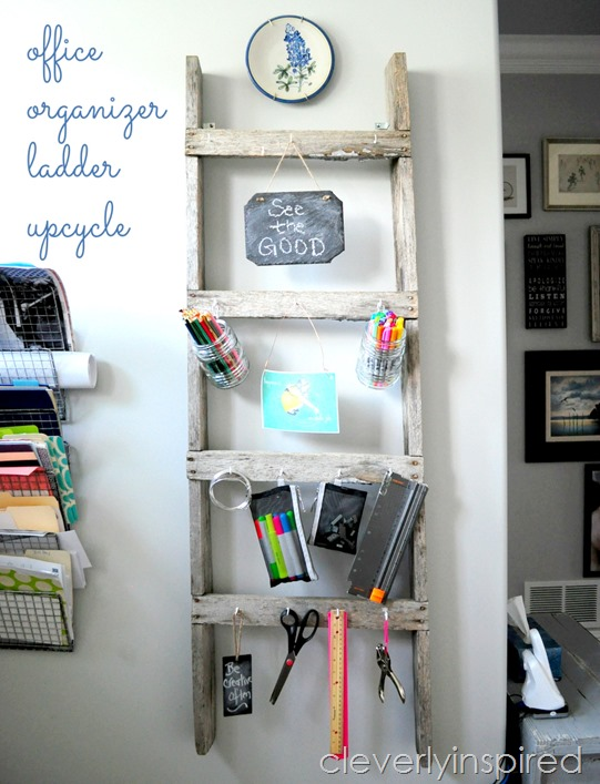 Repurposed old ladder office organizer by Cleverly Inspired