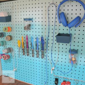 under desk ombre pegboard with attachments