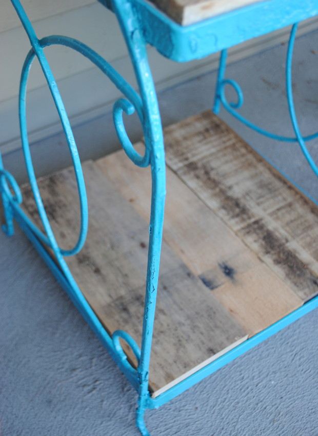 Before and After garage sale metal table transformed with spray paint
