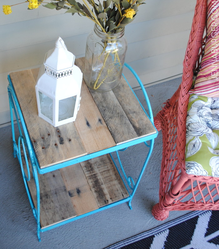 Turquoise Table Before & After: table that was falling apart with no top got a makeover using turquoise spray paint & pallets.