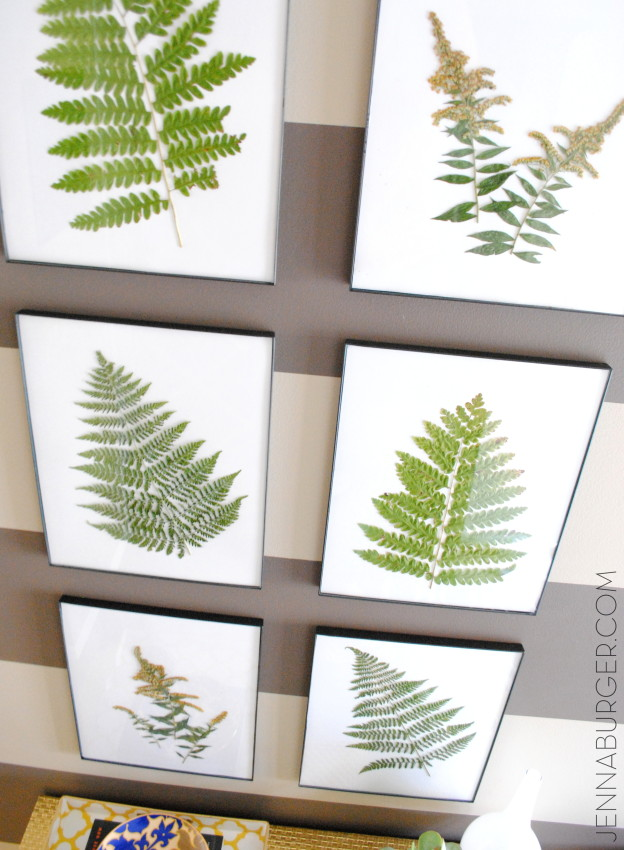 Fern Art in a foyer. More Decorating ideas for the Home using Fall Favorites.