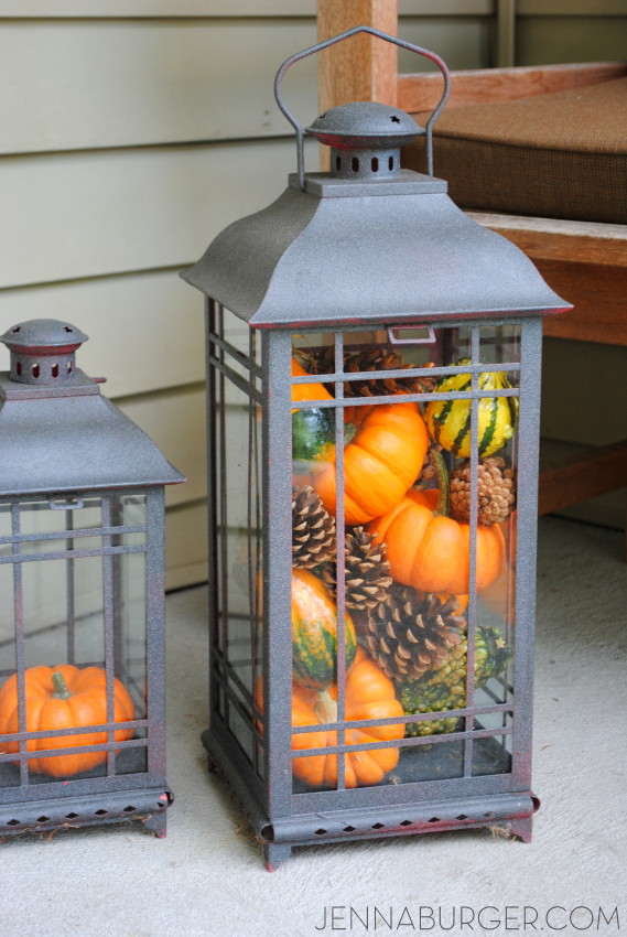 Pumpkin filled lantern. More Decorating ideas for the Home using Fall Favorites.