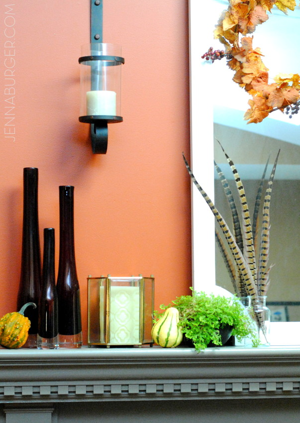 Pumpkins, gourds, leaves on the mantel. More Decorating ideas for the Home using Fall Favorites