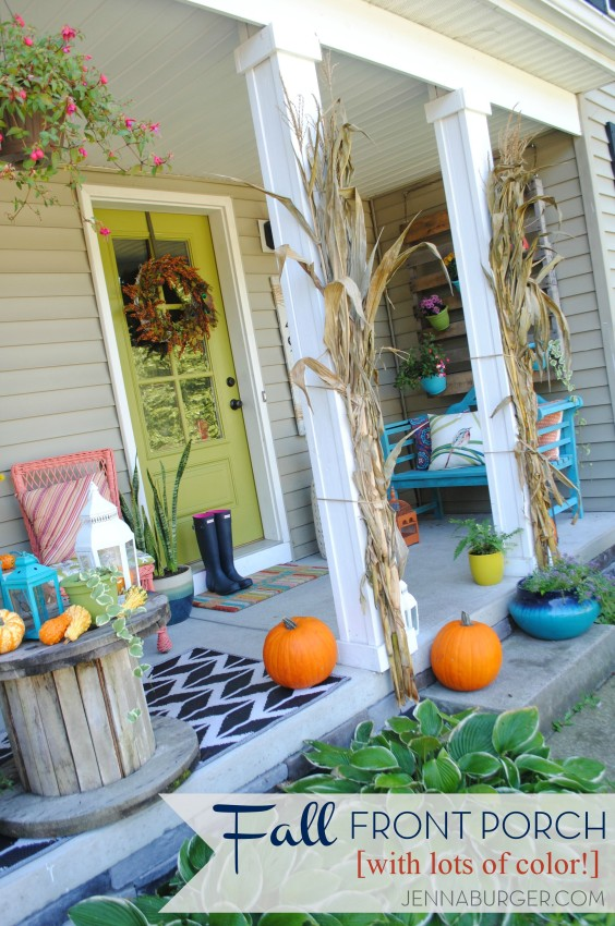 Fall Front Porch using lots of COLOR + seasonal favorites including pumpkins, gourds, cornstalks, and mums! Full tour of this Fall Front Porch @ www.JennaBurger.com