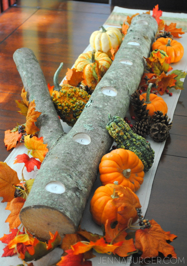 DIY: Log Centerpiece - perfect for the table or mantel. More Decorating ideas for the Home using Fall Favorites