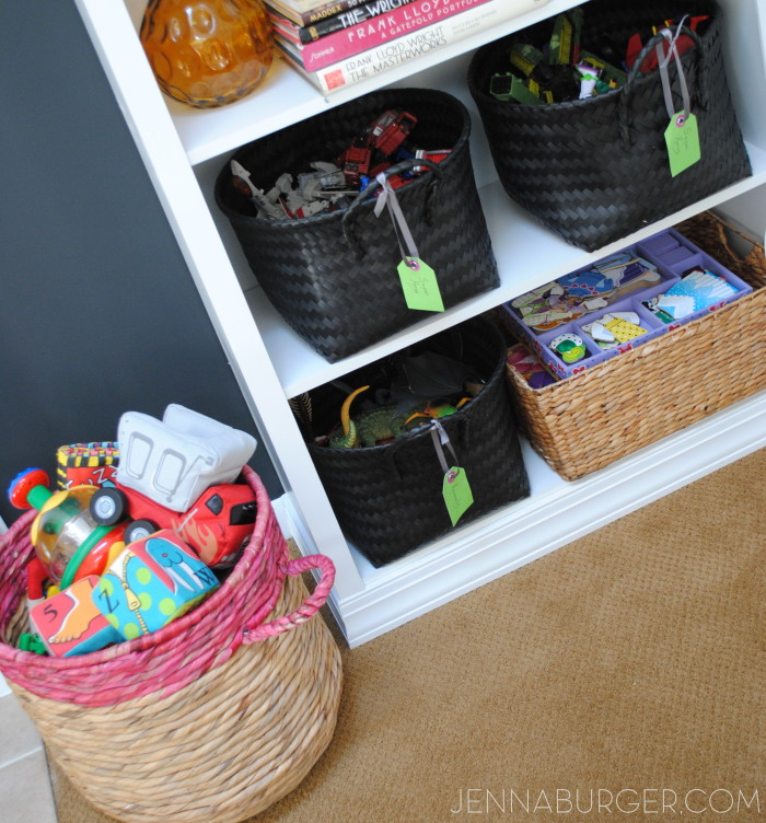 How I Organize Kids Toys: tips + unique EASY & STYLISH ways to organize kids toys, www.jennaburger.com