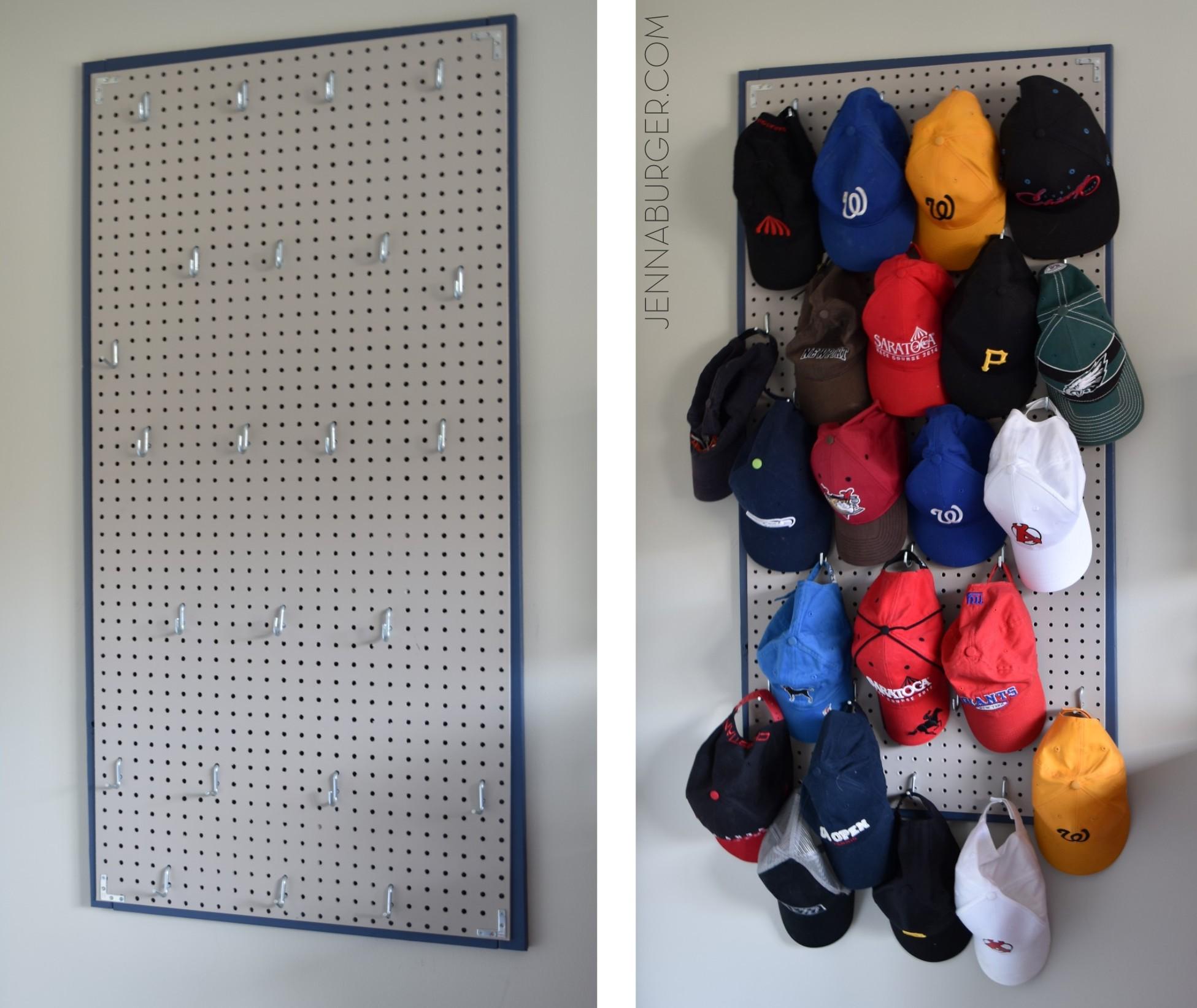 pegboard baseball cap organizer jenna burger