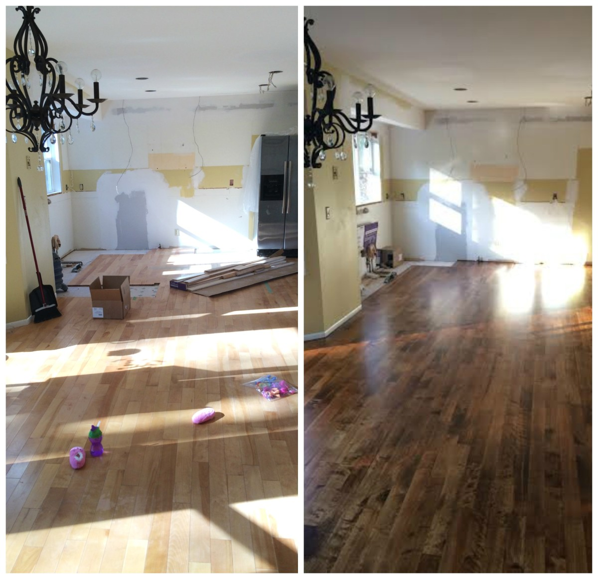 Kitchen Progress Staining Hardwood Floors Jenna Burger