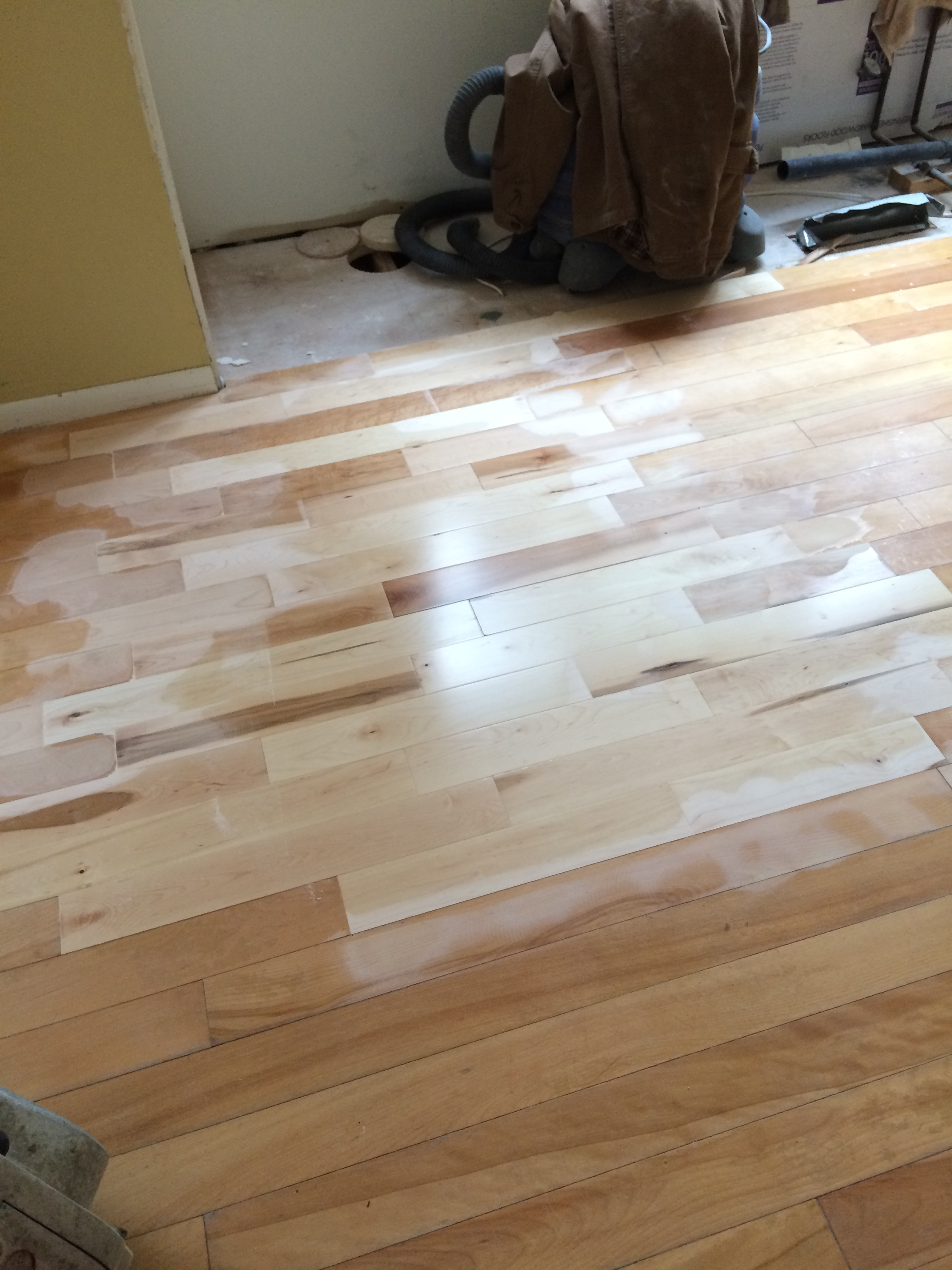 Kitchen Renovation Patch Repair And Stain The Hardwood Floors