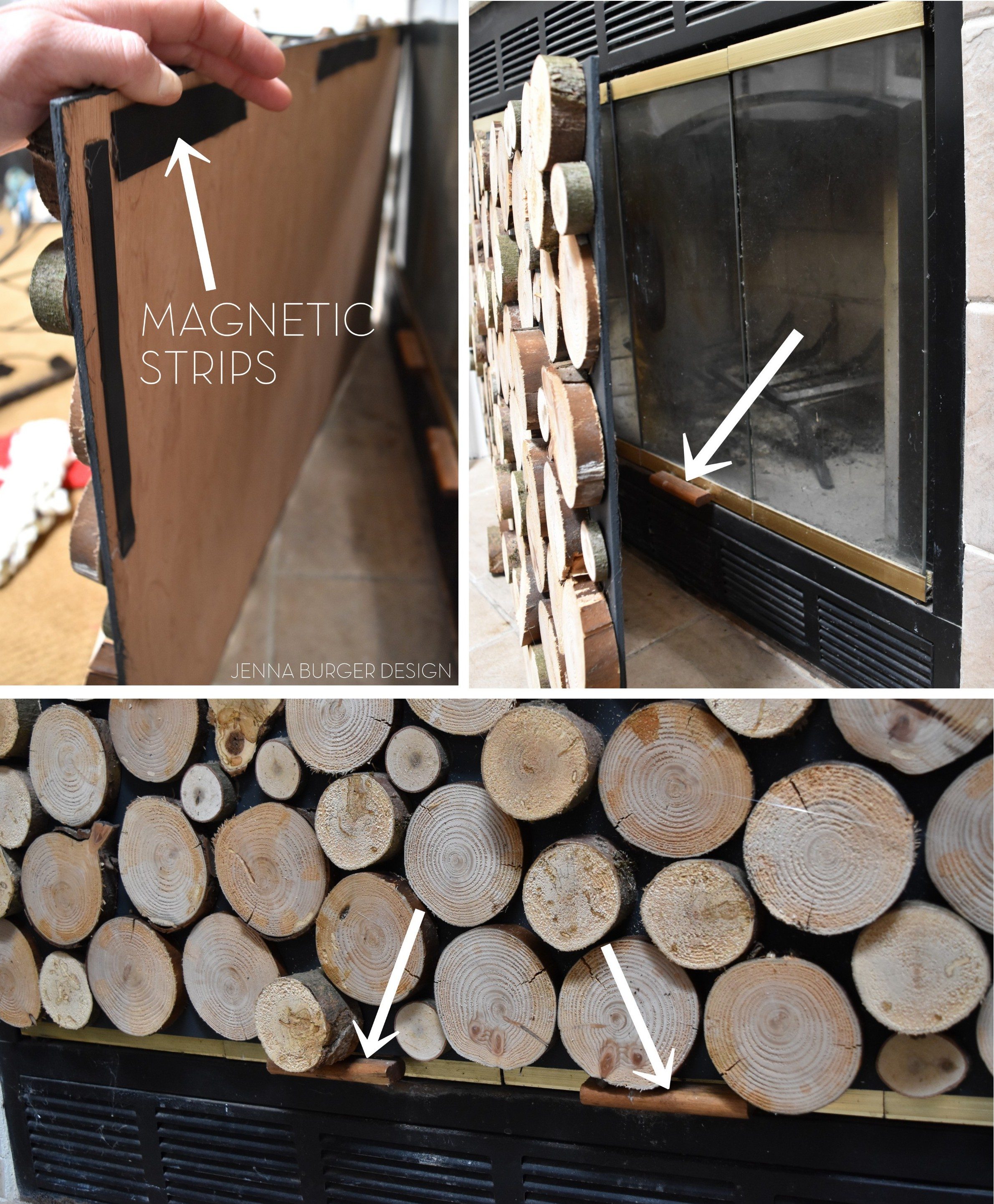 DIY: Tutorial on how to make a FAUX STACKED LOG FIREPLACE SCREEN. Check out how-to make it HERE!