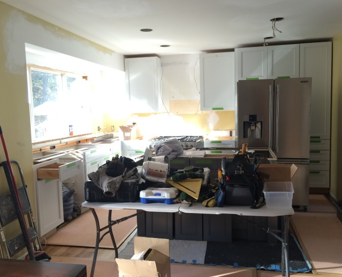 Kitchen Renovation + Cabinet Installation using Kraftmaid. Before & After @ www.jennaburger.com