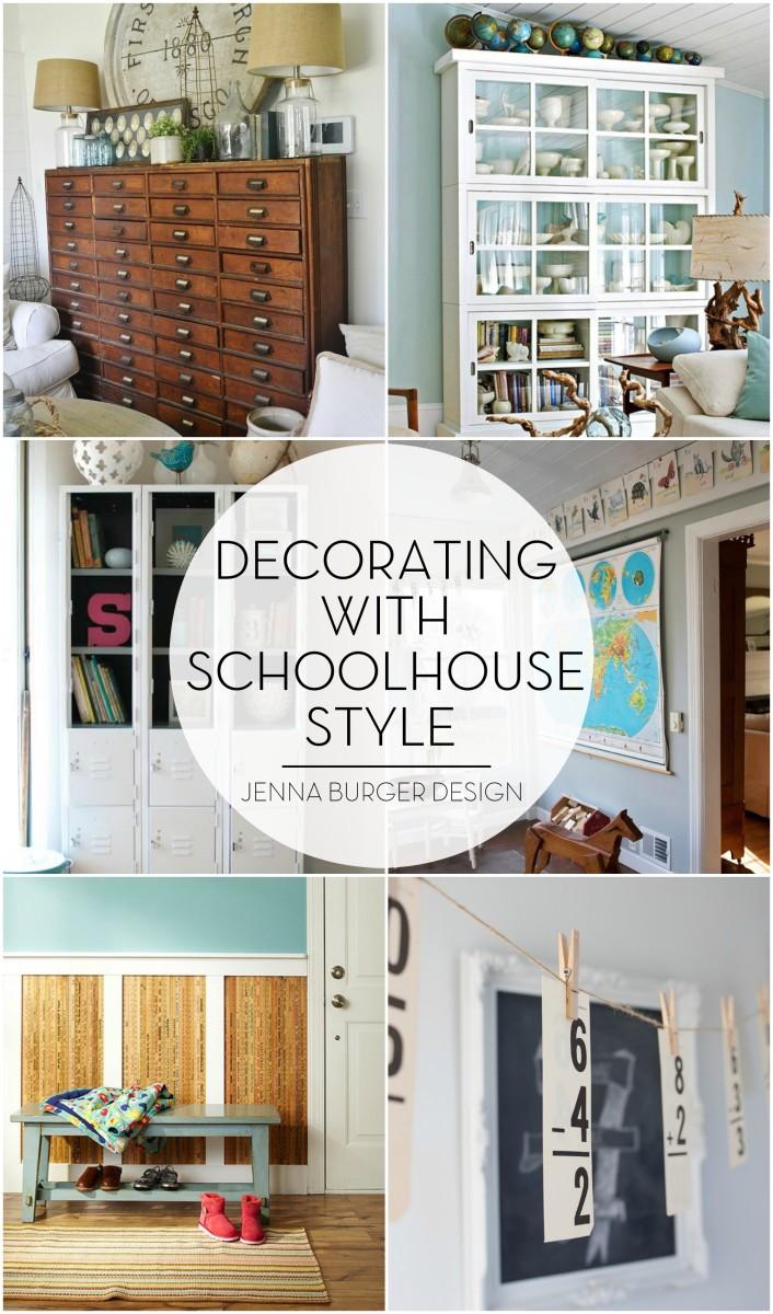 Decorating ideas using SCHOOLHOUSE style decor, Round up by www.JennaBurger.com